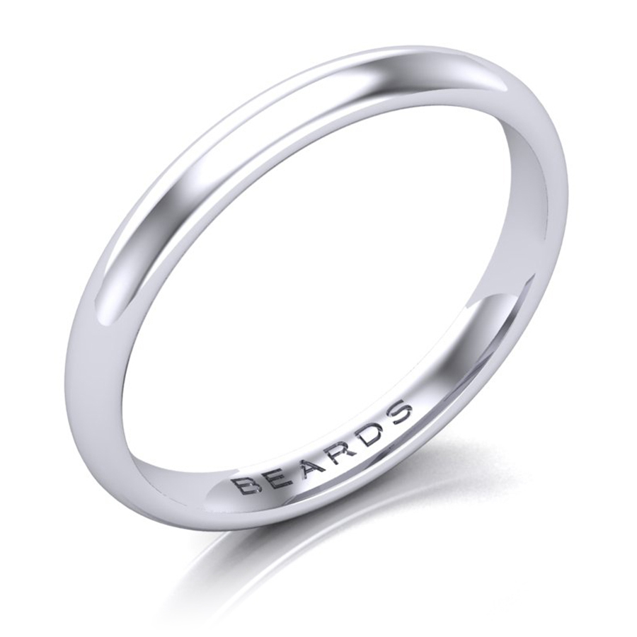 Platinum Wedding Band, 2.5mm