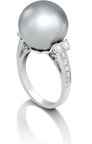 Tahitian Pearl and Diamond Ring, 0.67ct