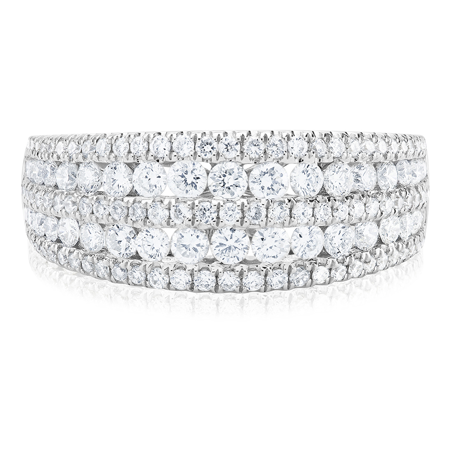 Beards Two Row Round Brilliant Cut Cluster Ring, 1.27ct