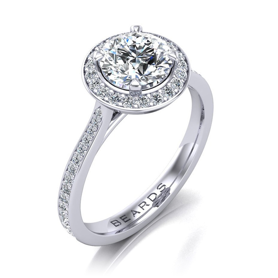 Halo Round Brilliant Cut Diamond Engagement Ring, 0.50ct