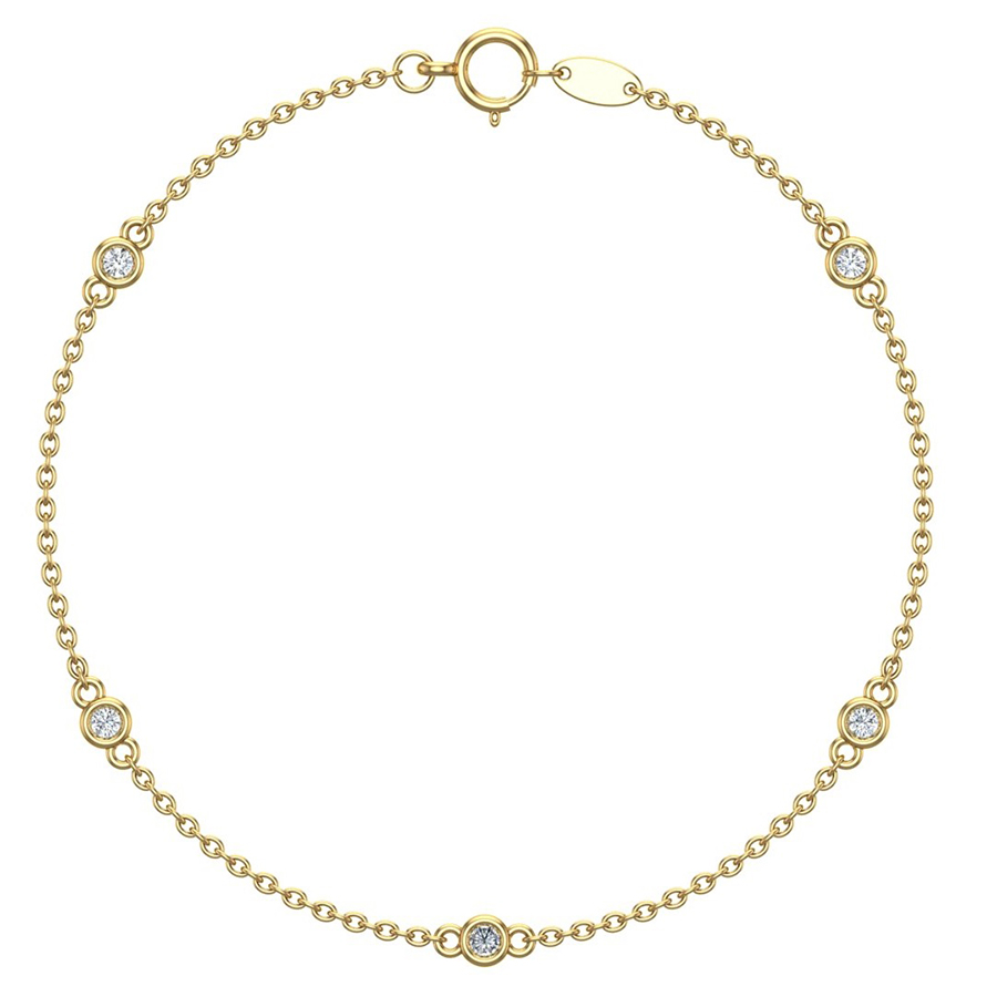 Galaxy 5 Diamond Yellow Gold Bracelet DON50318YG