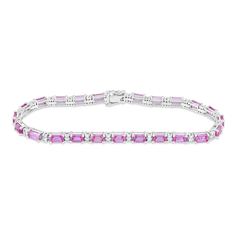 Pink Sapphire and Round Brilliant Cut Diamond Bracelet