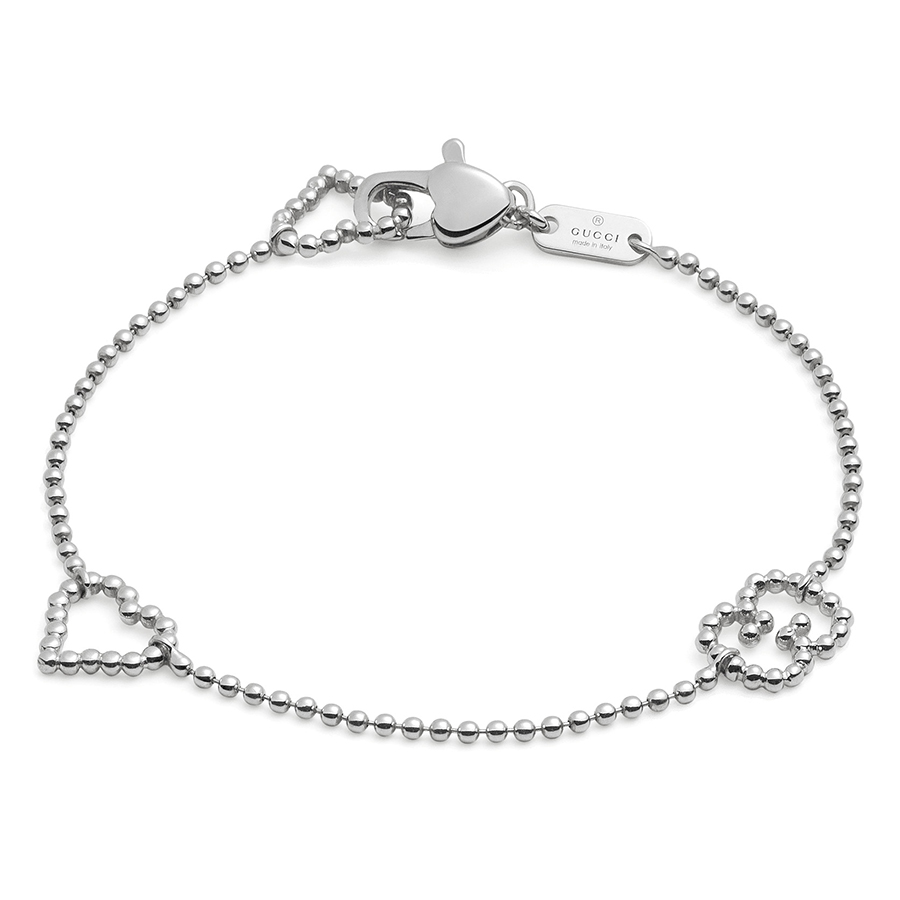 Gucci Boule Heart and GG Sterling Silver Bracelet