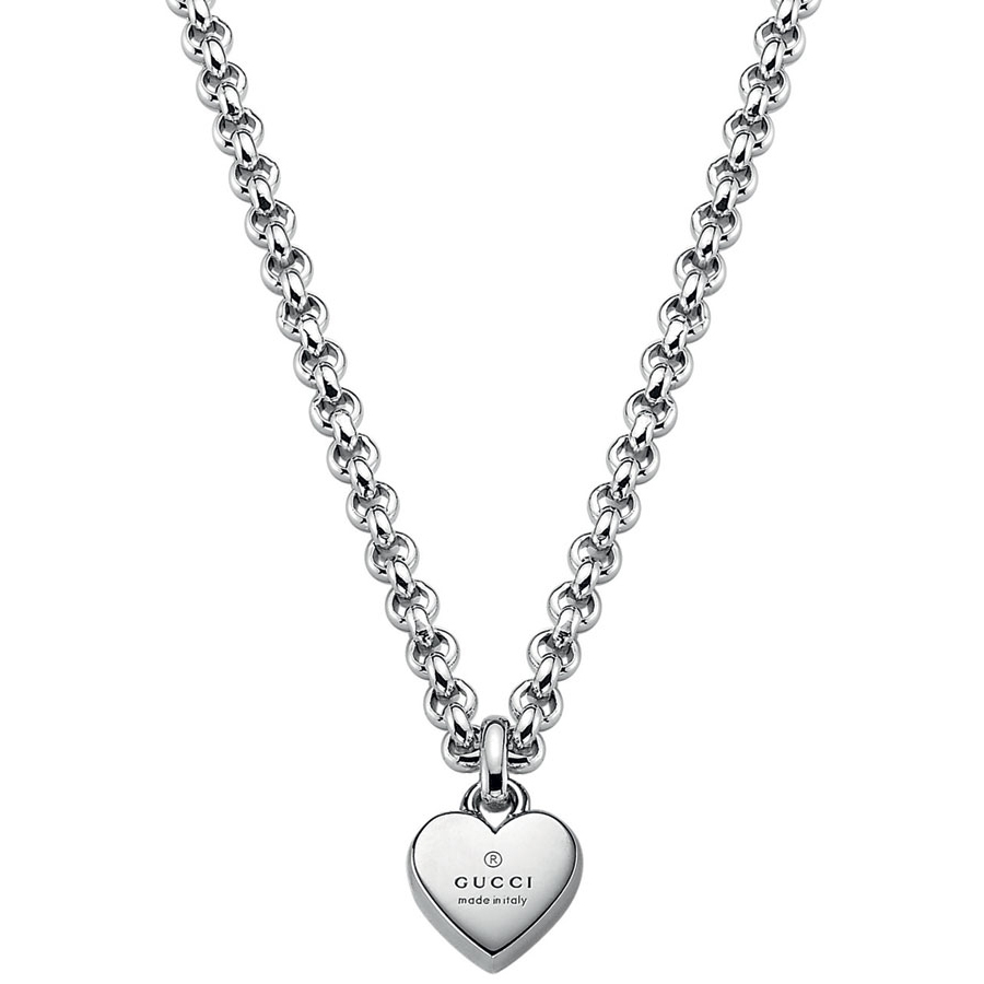 Gucci Trademark Sterling Silver Heart Necklace