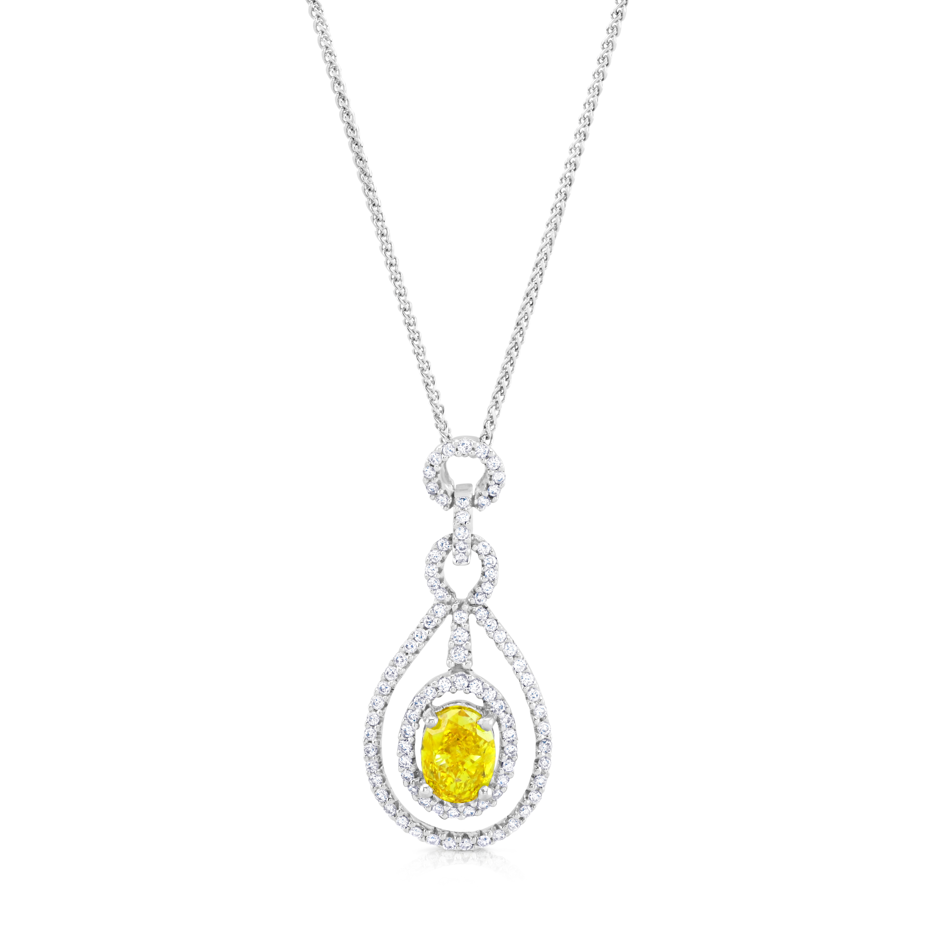 Yellow and White Diamond Cluster Pendant,1.02ct