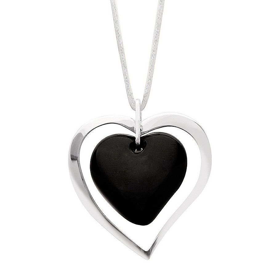 Lalique Heart Black Crystal Pendant 10035700