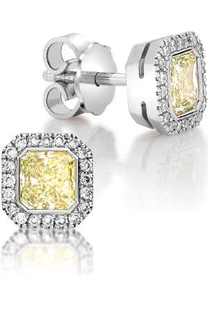 Emerald Cut Yellow Square Stud Diamond Earrings