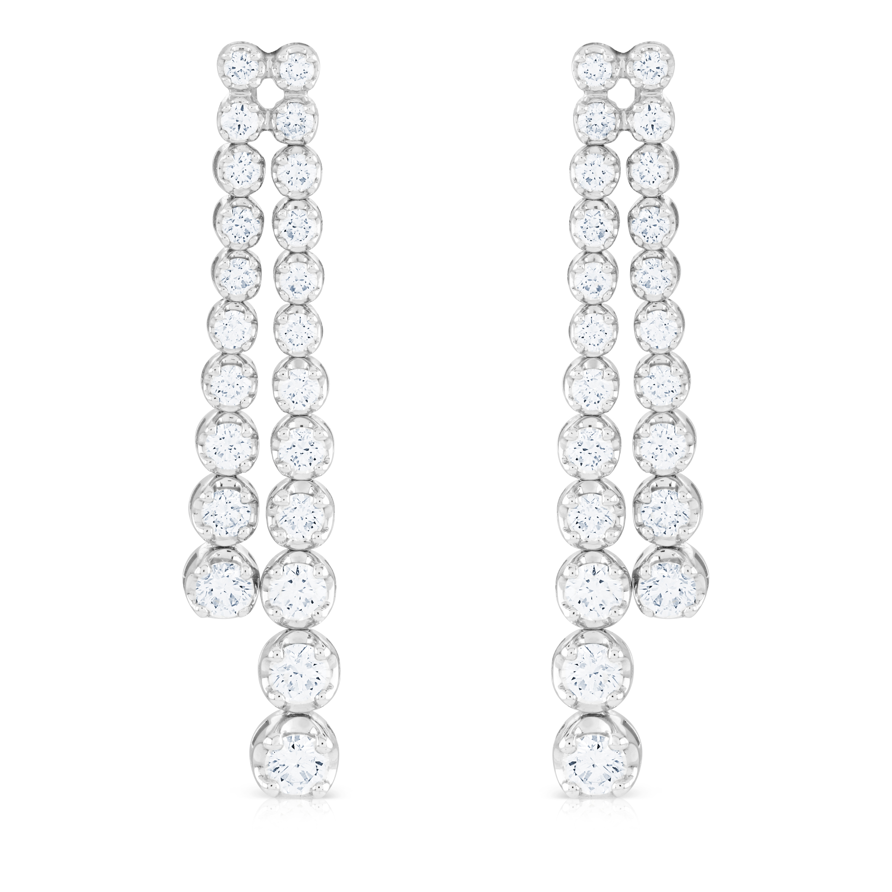 Two Row Round Brilliant Cut Diamond Drop Earrings