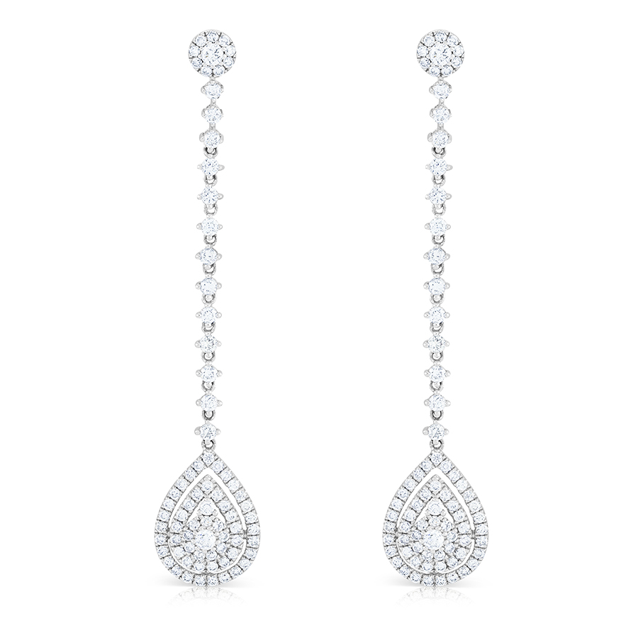 Pear Diamond Drop Earrings, 1.83ct