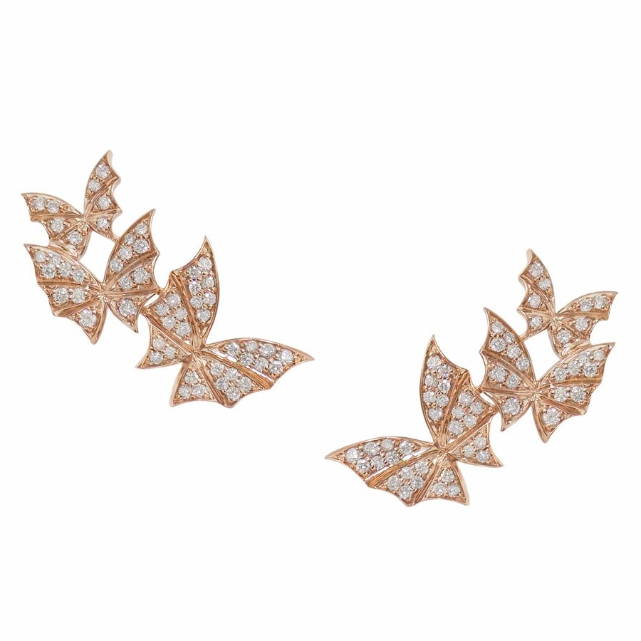 Stephen Webster Pave Rose Gold Triple Earrings WE0986 RG WD
