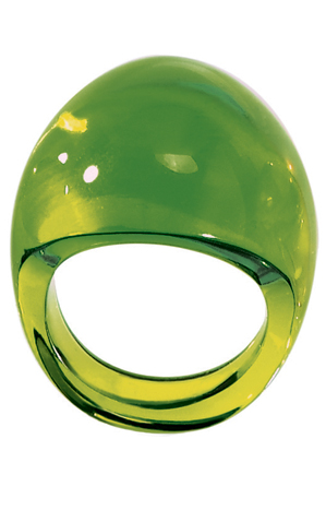 Lalique Cabochon Ring Lime Green BAGLG