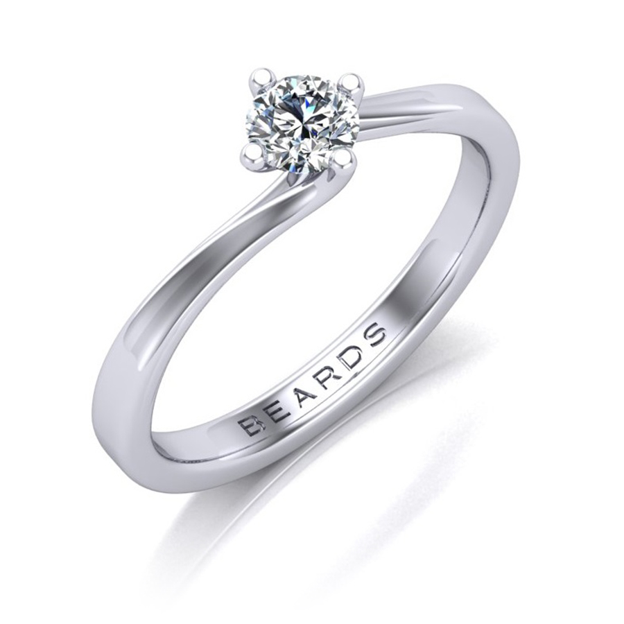 Twist Round Brilliant Cut Diamond Engagement Ring, 0.25ct