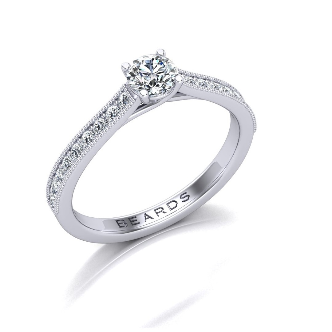 Pave Round Brilliant Cut Diamond Engagement Ring, 0.24ct