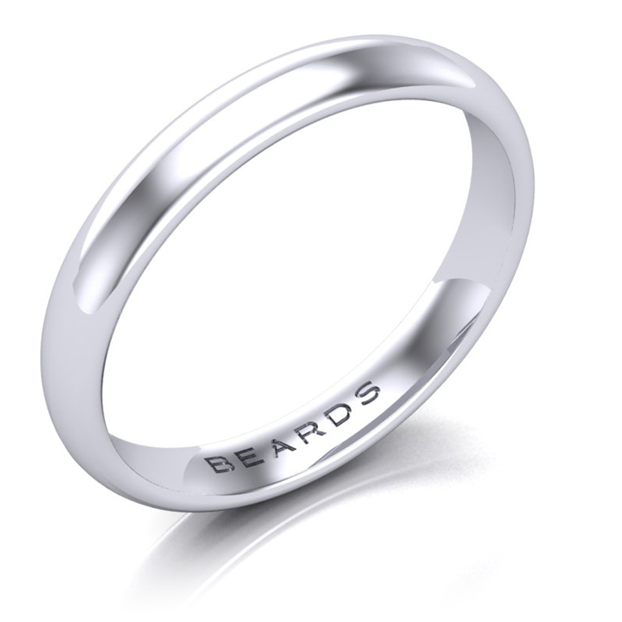Beards Wedding Ring - Heavy  Court Palladium