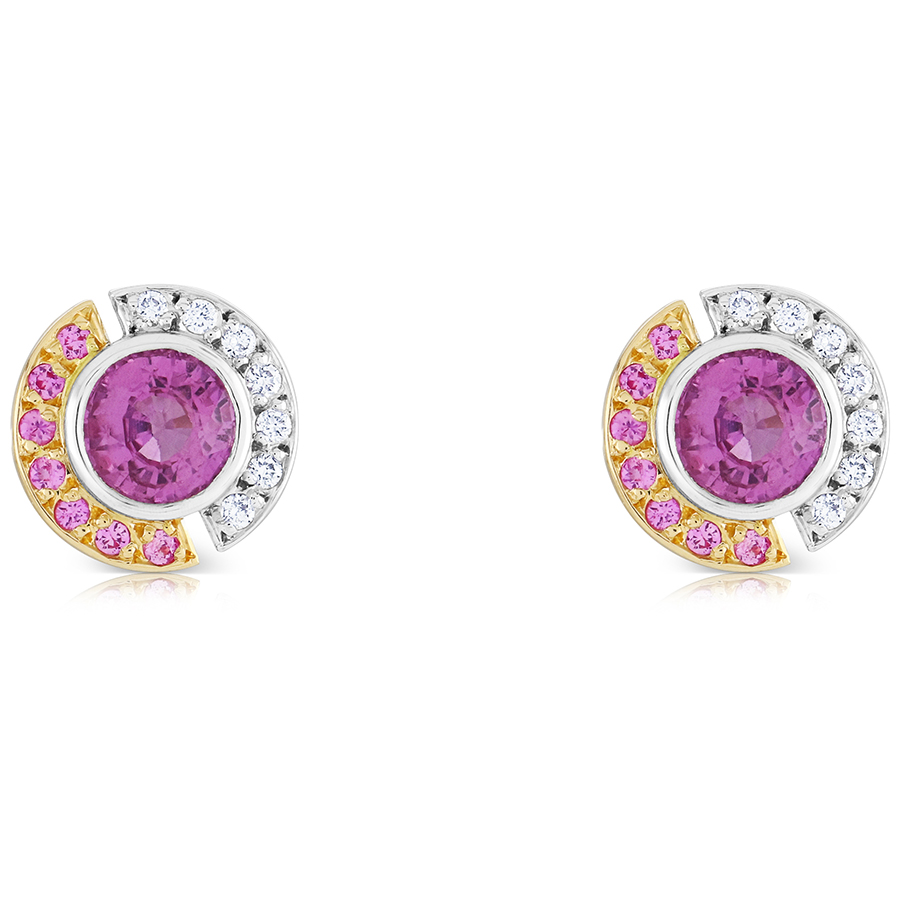 designs emily triangle pink earrings gold rose caymancode stud rebecca sarah sapphire dana